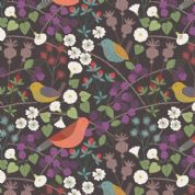 Lewis & Irene The Hedgerow - 5555  - Birds & Hedgerow Floral on Deep Brown - A251.3 - Cotton Fabric